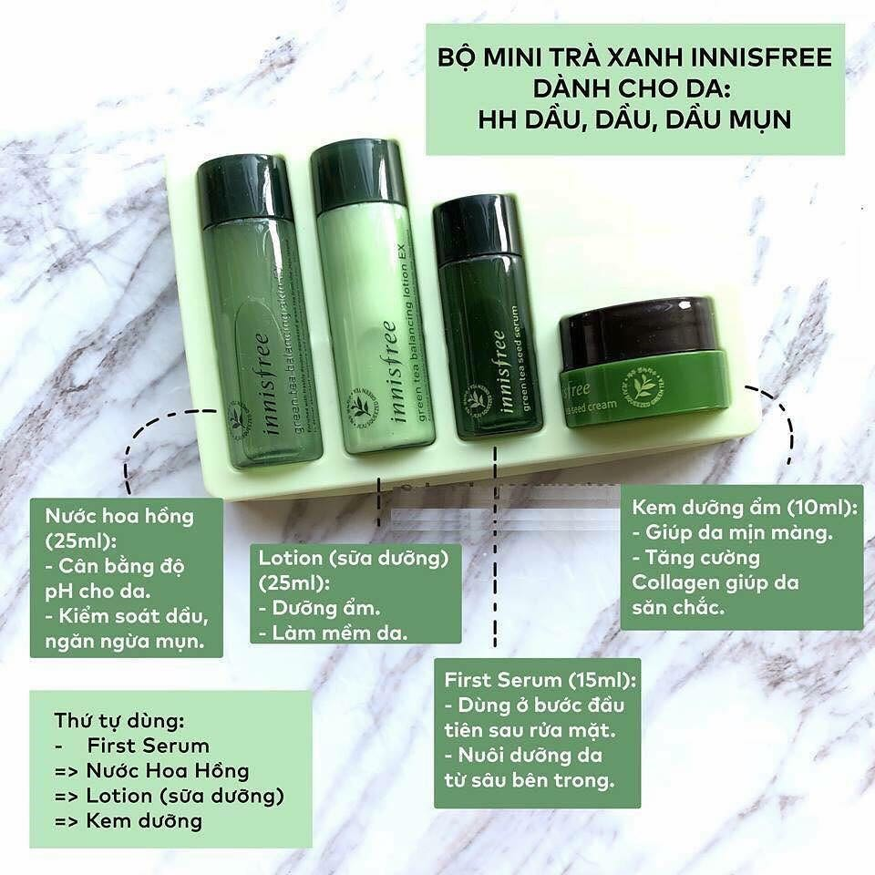 cach su dung bo kit tra xanh innisfree