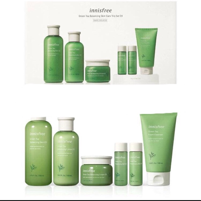 set duong innisfree green tea balancing skin care trio ex 5